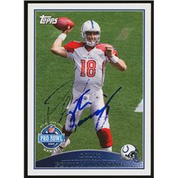 Peyton Manning Signed Colts 2009 Topps #300 Pro-Bowl Football Card (GA COA)