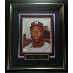 Hank Aaron Signed Braves 16x19 Custom Framed Photo (JSA COA)