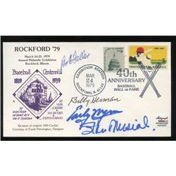 HOF FDC Envelope Signed by (4) with Stan Musial, Early Wynn, Bob Feller & Billy Herman (AR COA)