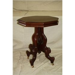 Octagon Walnut Victorian Parlor Table