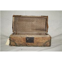 Small Studded Leather Trunk  ca 1840s