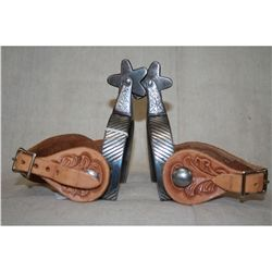 Double Mounted Silver Inlaid Mexican Spurs