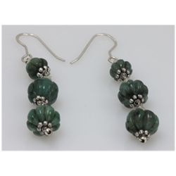 NATURAL 31.00 CTW EMERALD EARRINGS .925 STERLING SILVER