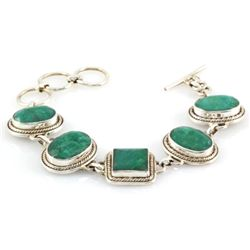 153.5ctw Custom Made Silver Emerald Bracelet