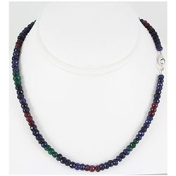 148.07ctw Natural Multi-Color Rondelles Necklace