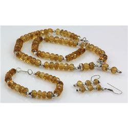 436ctw Natural Citrine Faceted Silver Sets
