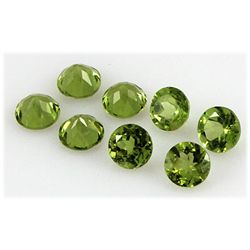 Peridot 10.64 ctw Loose Gemstone 7mm Round Cut