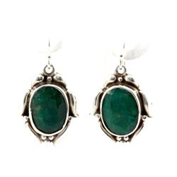 43ctw Unique Hook Silver Earring w/ Emerald