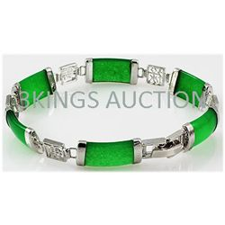 10.39g Apple Green Jade Sterling Silver Bracelet