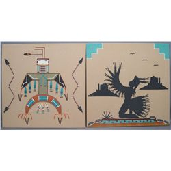 TWO NAVAJO SAND PAINTING