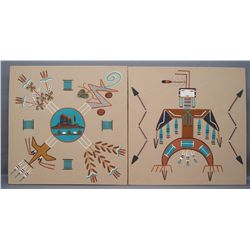 TWO NAVAJO SAND PAINTINGS