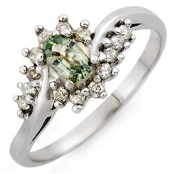 Green Sapphire & Diamond 0.55 ctw Ring 10K White Gold