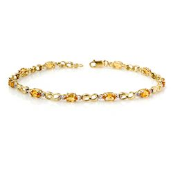 Genuine 2.26 ctw Citrine & Diamond Bracelet Yellow Gold