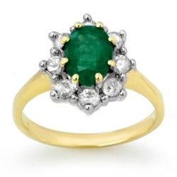 Genuine 2.02 ctw Emerald & Diamond Ring 14K Yellow Gold