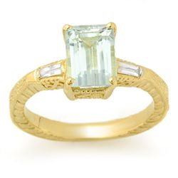 Genuine 2.20 ctw Aquamarine & Diamond Ring 10K Gold