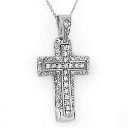 Natural 0.25 ctw Diamond Cross Pendant 10K White Gold