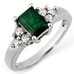 Genuine 1.36 ctw Emerald & Diamond Ring 10K White Gold