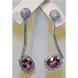 Lady's Antique Unique Style Sterling Silver Pink Sapphire & Diamond Earrings