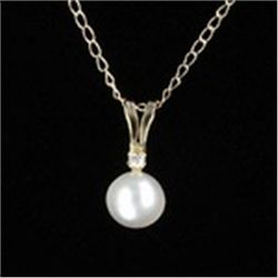 White Pearl &amp; 10K Yellow Gold Pendant &amp; Chain Necklace