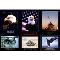 6 Patriotic Military Art Prints American Eagle Iwo Jima