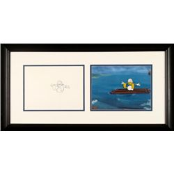 Cel Drawing Framed Donald Duck Animation Orig Drifting