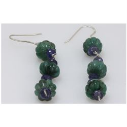 NATURAL 40.15 CTW EMERALD, TANZANITE EARRINGS .925 STER