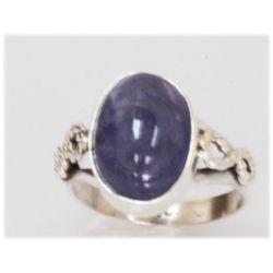 NATURAL 22.75 CTW TANZANITE RING .925 STERLING SILVER
