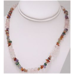 NATURAL 170.00 CTW MIXED SEMI-PRECIOUS STONES NECKLACE