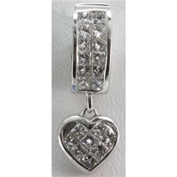 Genuine 1.08 ctw Invisible Dangling Heart Pendant 18k