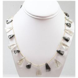 135.35 ctw Natural Smoke Quartz & Rulite Bead Necklace