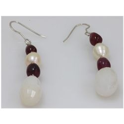 NATURAL 51.30 CTW RUBY, PEARL SEMIPRECIOUS EARRINGS .92