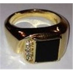 18K MENS GOLD RING W/.24 CT VS DIAMONDS, 17.1 GRAMS GOLD