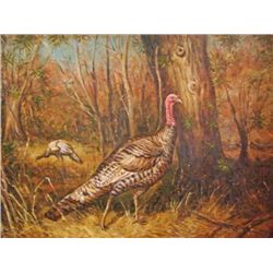 MWF39 FRAMED OIL ON CANVAS ~WILD TURKEY~