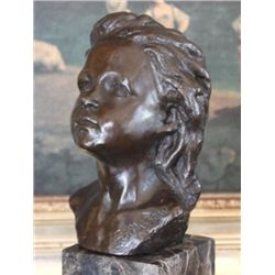 Lovely Female Child Portrait Bust Bronze Sculpture Aft