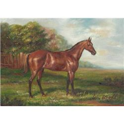 5 x 7 Oil on Board ~Horse in Pasture~ Signed W. Krell