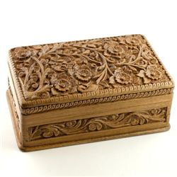 Handcarved Walnut Jewelry Box