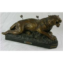 Patinated Plaster Statue - Tigre Blesse