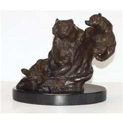 Magnificent Bronze Sculpture Grizzly Bear Mother & Cub
