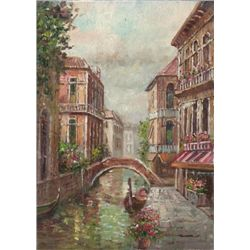 MWF1383W 5x7 Oil on Board Depiciting Venice Gondola Sc