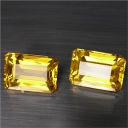 MATCHING 12.90 CT. EMERALD CUT GOLDEN CITRINE 2 PC SET