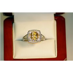 Ladies Fancy Golden Citrine Sapphire and White Topaz Ring