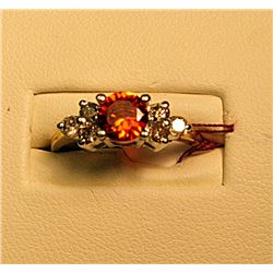 Ladies Beautiful Two Tone Diamond and Orange Citrine Ring
