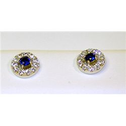 Lady's Antique Style Sterling Silver Round Shape Blue Sapphire &amp; Diamond Earrings