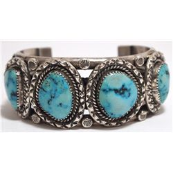 Old Pawn Navajo Dry Creek Turquoise Sterling Silver Cuff Bracelet - M