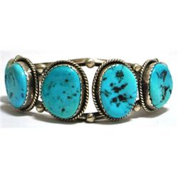 Old Pawn Turquoise Sterling Silver Cuff Bracelet - LW