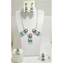 Old Pawn Multi-Stone Maiden Sterling Silver 4-Piece Set - J. Waseta