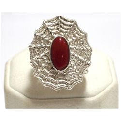 Old Pawn Navajo Coral Tufa Cast Sterling Silver Spider Web Men's Ring - Philander Begay