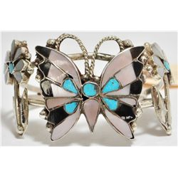 Old Pawn Multi-Stone Inlay Butterfly Sterling Silver Cuff Bracelet - Anselm Wallace