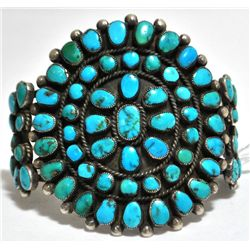 Old Pawn Turquoise Petit Point Sterling Silver Cuff Bracelet - Wilson