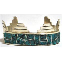 Old Pawn Kingman Turquoise Sterling Silver Cuff Bracelet - VV